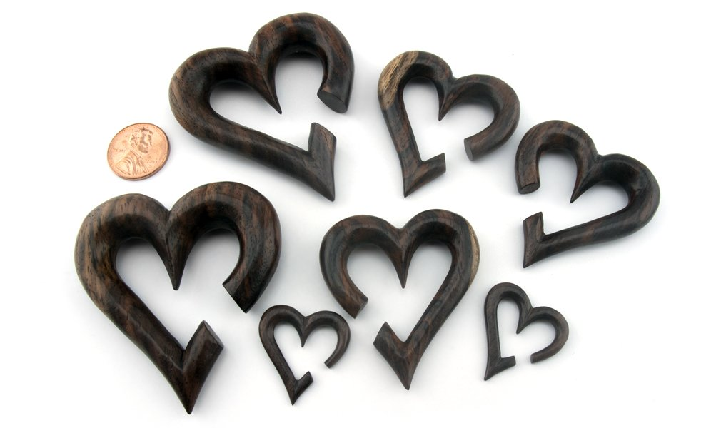 Urban Body Jewelry Pair of 00 Gauge (00G - 10mm) Sono Wood Heart Hanger Plugs by Urban Body Jewelry