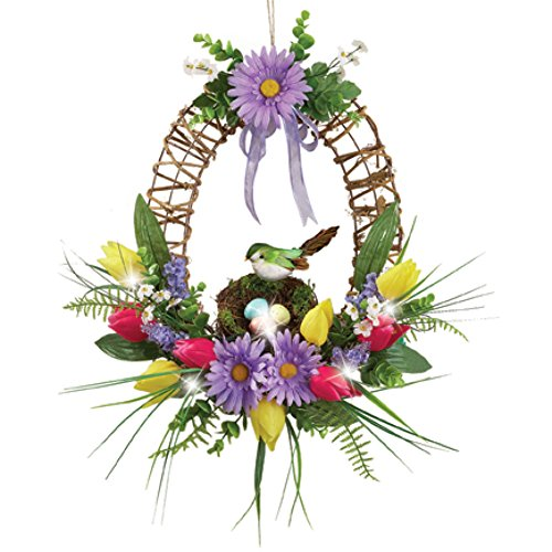 Pre-Lit LED Lighted Spring Floral Wreath with Bird Nest