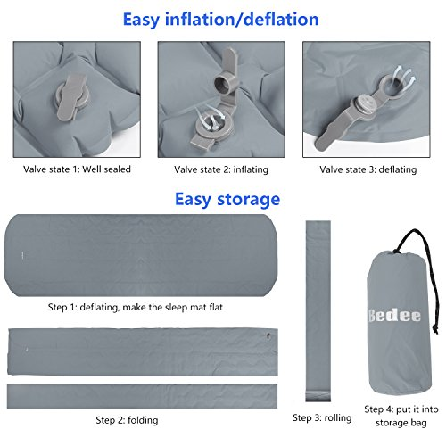 Lightweight Splicing Air Pad Compact Camping Mattress with Pillow Quick Flow Value For Outdoor Camping,Hiking,Backpacking,Travel Kereith Self-inflating Sleeping Mats