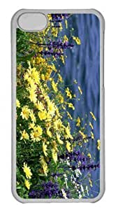 Customized iphone 5C PC Transparent Case - Wild Flowers And River Personalized Cover