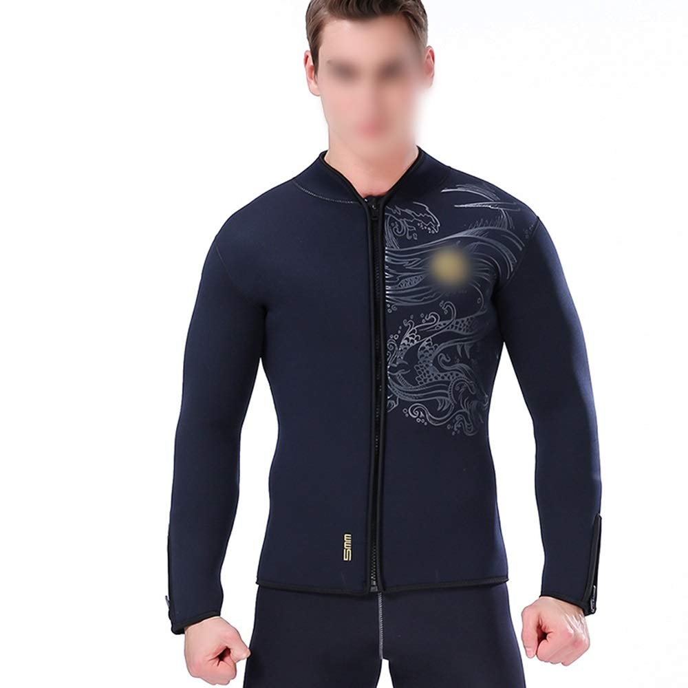 Sdhisi Iu 5ミリメートル分割ダイビングスーツ暖かいダイビングジャケットトップス裏地厚くダイビングサーフウェットスーツ (色 : 黒, サイズ : L) 黒 Large