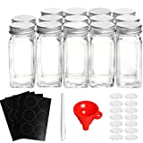14 Packs Spice Jars Bottles, QueenTrade Glass Spice Jars, Square Glass Seasoning Jar (4oz) With 24 Clear Chalkboard Labels,Chalk Marker, Aluminum Silver Metal Caps, Wide Funnel with Pour/Sift Shaker Lid