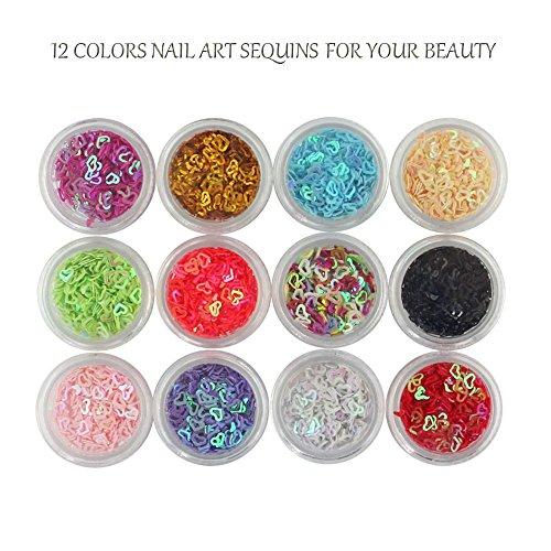 Price comparison product image Like U Glitter Nail Art Chunky Sequins Manicure Glitter Powder Flakes 3D Nail Art Decoration,  12 Colors DIY Nail Art Kit (Hollow Heart)