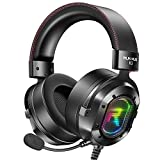RUNMUS Gaming Headset for Xbox One, PS4, PC Headset w/Surround Sound, Over Ear Headphones with Noise Canceling Mic & RGB Light, Compatible with Xbox One, PS4, Nintendo Switch, 3DS, PC, Mac, Laptop