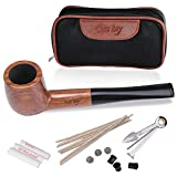 Tobacco Smoking Pipe Set, Free Boy Handmade Wooden Straight Stem Smoking Pipe with Leather Tobacco Pouch, and Smoking Accessories
