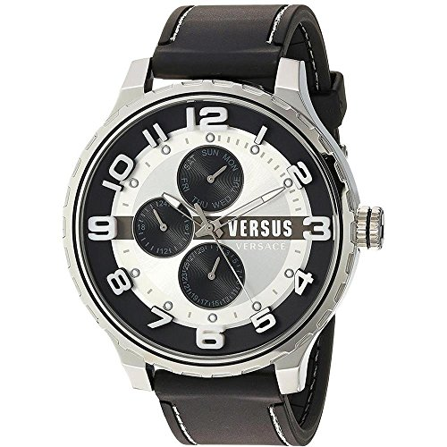Versus by Versace Men's 'Globe' Quartz Stainless Steel and Rubber Casual Watch, Color Black (Model: SBA130015)