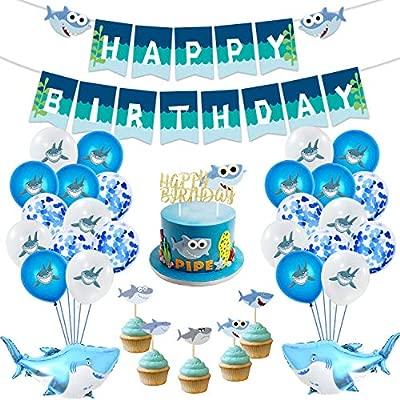 MIFIRE Decoración de Tiburón para Fiestas de cumpleaños, 1 Gran Adorno de Pastel, 25 Adornos de Cupcakes, 2 Globos de tiburón, 1 banderola, Temas de ...