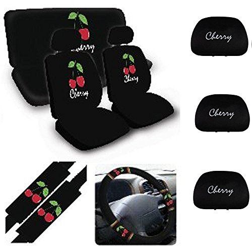 Wheel Steering Cherries Cover - A set of 14 Piece Automotive Gift Set: 4 Wheel Cover 1 Rear Seat Cover 2 Shoulder Pads 2 Front Seat Covers 3 Rear Seat Head Rest Covers - Cherry