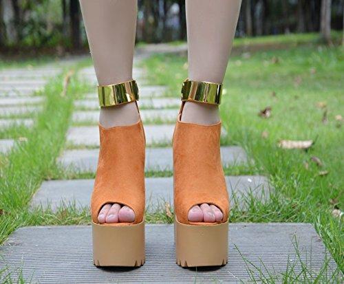hueco centímetros botas cortas Amarillo de super 14 fondo El tacón de XiaoGao grueso tacon g8pP66x