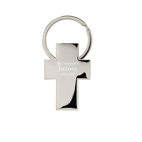 Llavero con forma de cruz para comunion, PERSONALIZADO. Pack ...