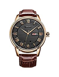 SONGDU Mens Day Date Black Dress Watch Roman Numeral Rose Gold Watches and Brown Leather Strap