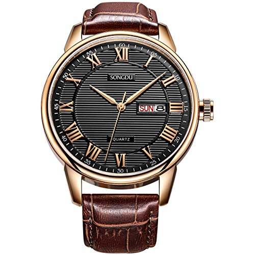 SONGDU Mens Dress Rose Gold Day Date Watch with Brown Leather Strap