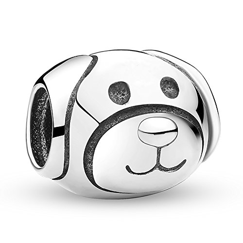 Everbling Cute Puppy I Love Dog Pet Lover25 Sterling Silver Bead Fits European Charm Bracelet (Devoted Dog)