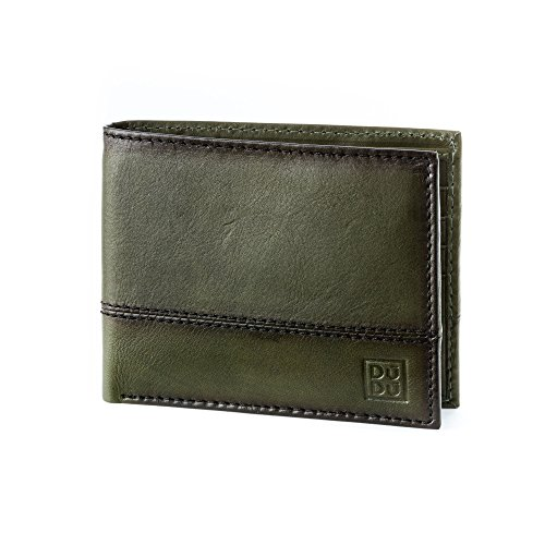 purse ~ holder wallet Havana leather Wallet credit 578 DUDU genuine card Green in 594 bifold Mens FqfBq