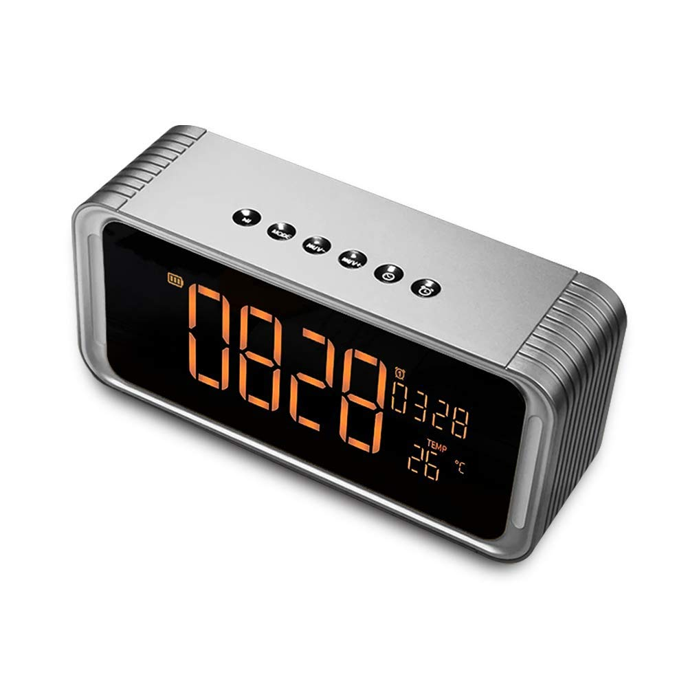 POWERIVER Bluethooth Speaker, ViewSonar with Alarm Clock,Handsfree HD Call, FM Radio, Rich Bass, USB Charging Port for Bedside, Desktop, Indoor, Portable Outdoor