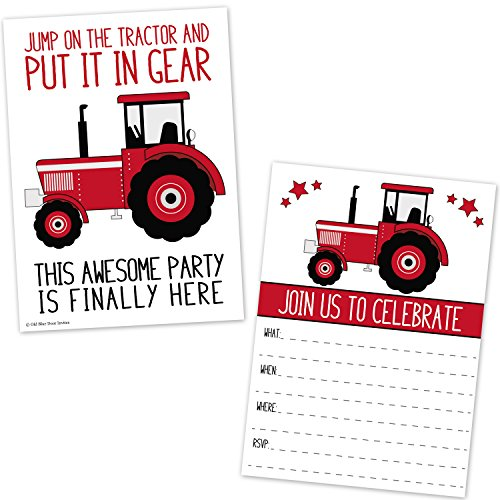 Farm Invitation - Red Tractor Birthday Party Invitations for Boys - Farm Ranch Barnyard Kids Invites (20 Count with Envelopes)