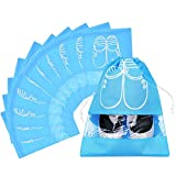 Pack of 10 Dust-proof Breathable Travel Shoe Organizer Bags for Boots, High Heel - Drawstring, Transparent Window, Space Saving Storage Bags, Medium Size, Sky Blue