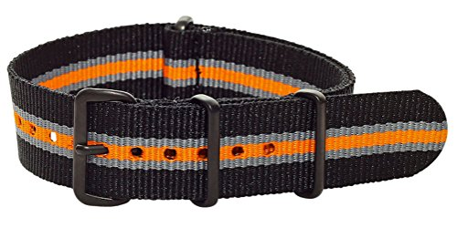 Clockwork Synergy Premium Nylon Nato Watch Straps bands PVD Black Hardware (22mm, Orange / Grey / Black) - Black Pvd Strap