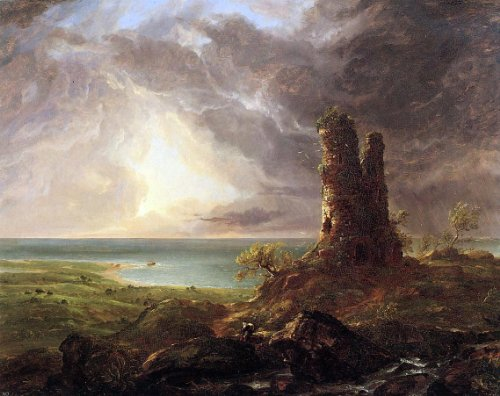 Thomas Cole Romantic Landscape with Ruined Tower - 20.1