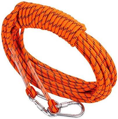 ロープ、屋外の安全プロフェッショナルロッククライミングロープコード洞窟探検懸垂下降サバイバル補助コードクライミング装備カラビナ付き,Orange,50m