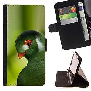 - parrot green trees tropical bird nature - - Prima caja de la PU billetera de cuero con ranuras para tarjetas, efectivo desmontable correa para l Funny HouseFOR HTC One M9