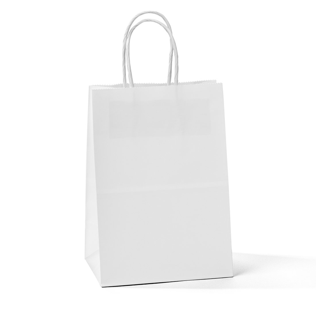 Halulu Kraft White Paper Bags - Gift Bags with Handles - 25pc 5x3.75x8 Shopping Bags