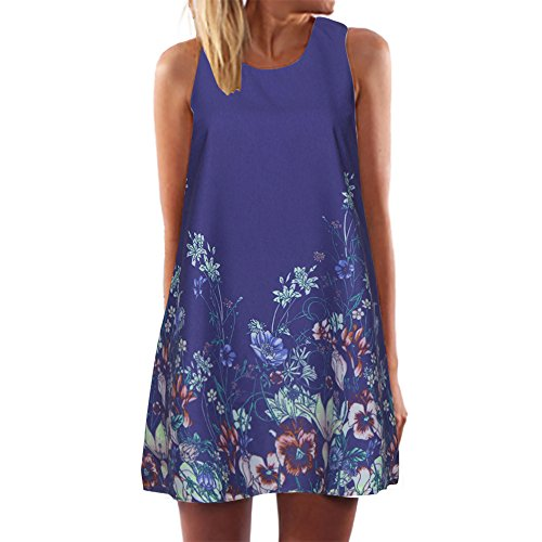 Dressin Womens Dress Summer O-Neck Boho Sleeveless Floral Printed Beach Mini Dress Casual T-Shirt Tank Tops Short Dress ()