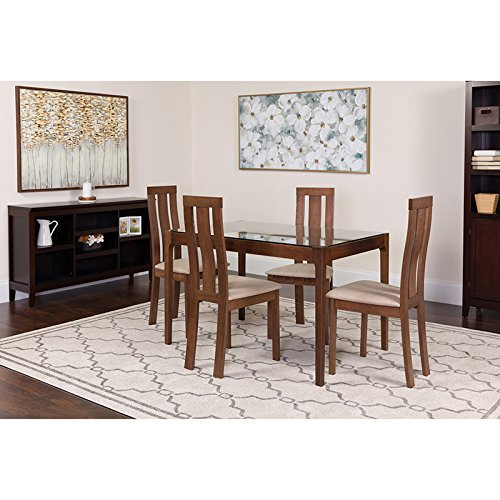 Flash Furniture Gridley 5 Piece Walnut Wood Dining Table Set with Glass Top and Vertical Wide Slat Back Wood Dining Chairs - Padded Seats Clear/Walnut/Beechwood (Piece Back Slat 5)