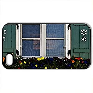 Beautiful Window - Case Cover for iPhone 4 and 4s (Houses Series, Watercolor style, Black)