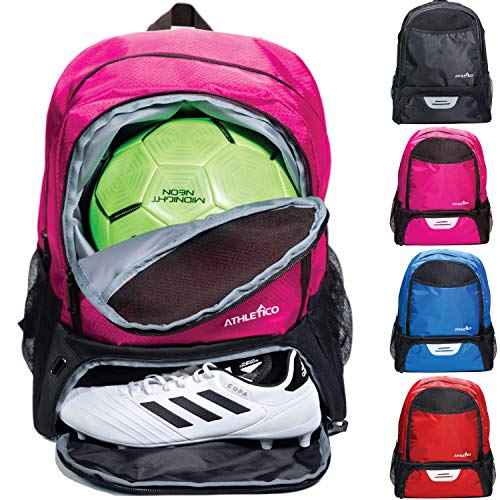 Athletico Youth Soccer Bag - Soccer Backpack & Bags for Basketball, Volleyball & Football   Includes Separate Cleat and Ball Compartments (Pink) (Sports Equipment Backpack)