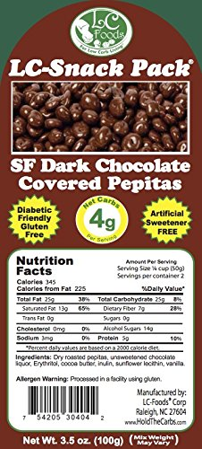 Dark Chocolate Covered Pepitas with Erythritol (6 Pack) - LC Foods - Low Carb - All Natural - Paleo - Gluten Free - No Sugar - Diabetic Friendly - 3.5 oz Each