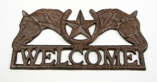 Welcome Sign Plaques Horse Head Statue Wall Mounted Decor Metal Star Good Luck Horseshoe Figures Home Indoor Outdoor Decor Western Accent
