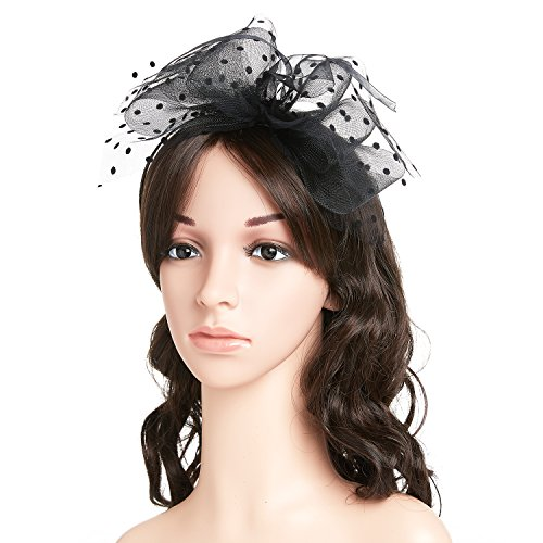 80s Big Bowknot Mesh Pompom Headband,Women Fascinator Dot Veil Hair Scarf (The 80s Outfits)