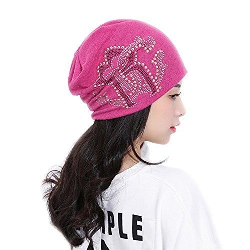Diario Skully BaronHong Rosa roja Mujeres Hat Cap Beanie Hddq6