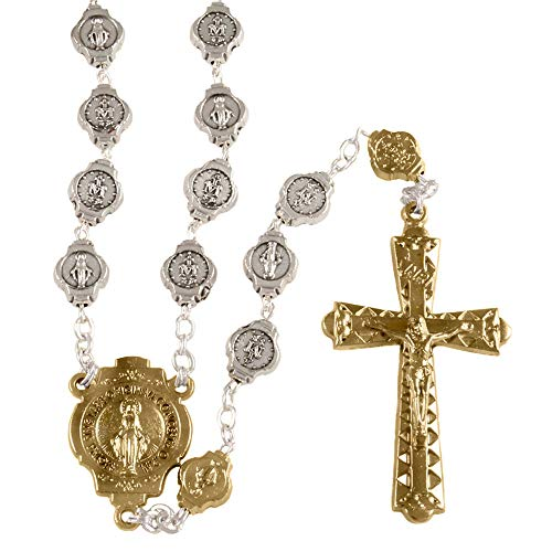(Silver and Gold Miraculous Beads Rosary)