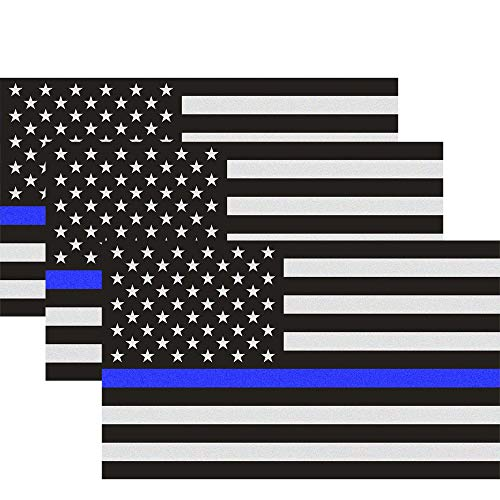 Classic Biker Gear Reflective Thin Blue Line Decal - 3x5 in. American Flag Decal for Cars and Trucks, Support Police and Law Enforcement Officers (3 Pack) ()