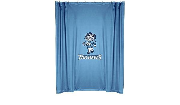 Amazon North Carolina Tar Heels COMBO Shower Curtain 4 Pc Towel Set 1 Window Valance Drape 63 Inch Length