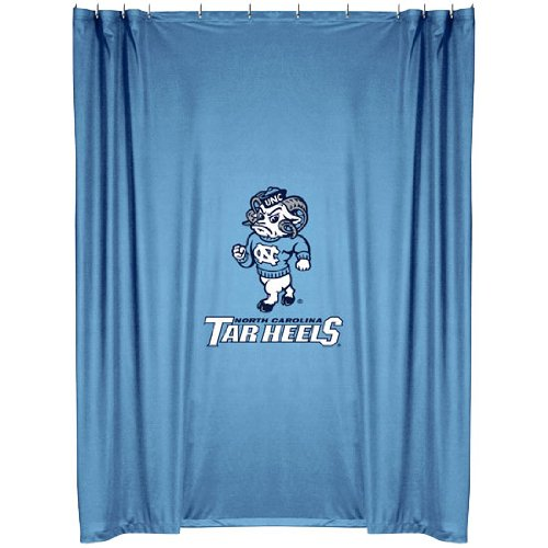 North Carolina Tar Heels COMBO Shower Curtain, 2 Pc Towel Set & 1 Window Valance/Drape Set (84 inch Drape Length) - Decorate your Bathroom & SAVE ON BUNDLING! by Sports Coverage