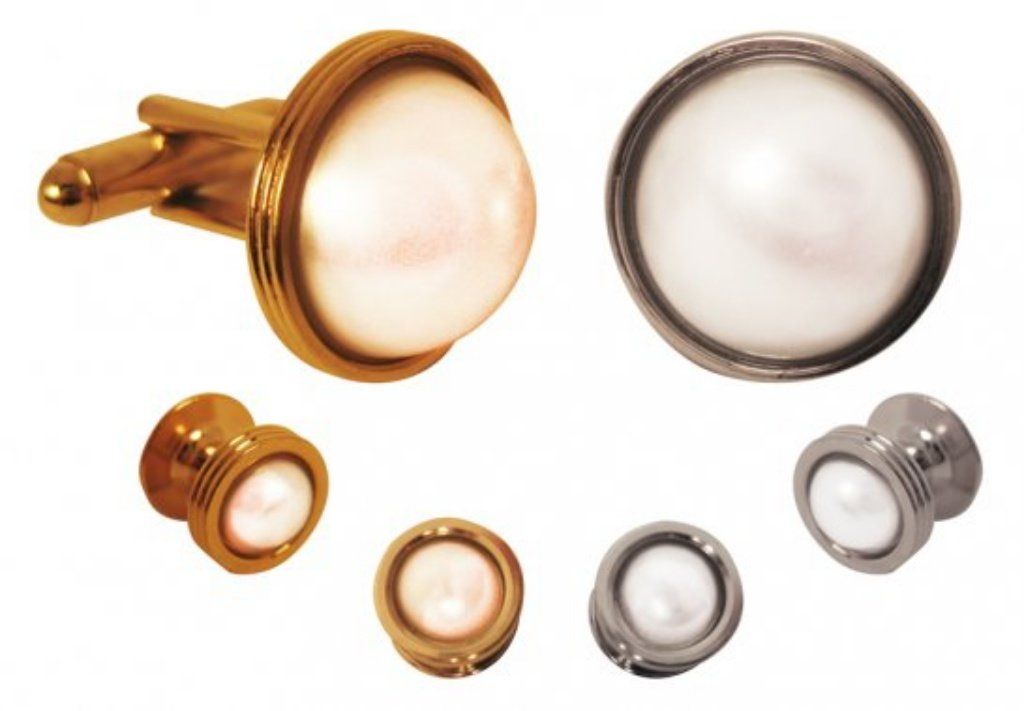 David's Formal Wear Double Setting with Metallic White Domed Stone Tuxedo Studs and Cufflinks Silver Trim