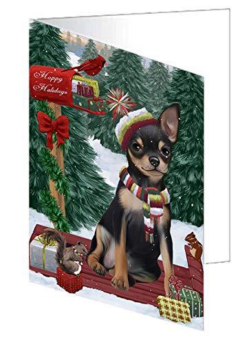 Merry Christmas Woodland Sled Chihuahua Dog Greeting Card GCD69206 (20)