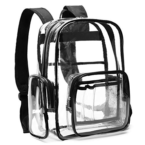 Heavy Duty Clear Backpack, Packism Waterproof Clear Backpack for Adults with Reinforced Straps, Student Book Bag Transparent Backpack for Girls, Boys, School, Security, Stadiums, Work, Black