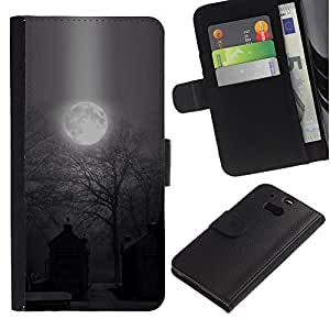 A-type (Moon Spooky Graveyard Halloween) Colorida Impresión Funda Cuero Monedero Caja Bolsa Cubierta Caja Piel Card Slots Para HTC One M8