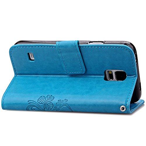 Sunroyal® para Samsung Galaxy S5/S5 NEO/GT-I9600/G900 Funda Case PU Cover Carcasa Accesorios Set, Premium Luxury Alta Calidad Flip Leather Telefono Plegable Caja de la Carpeta Bolsa de Moda Cubierta F Azul02