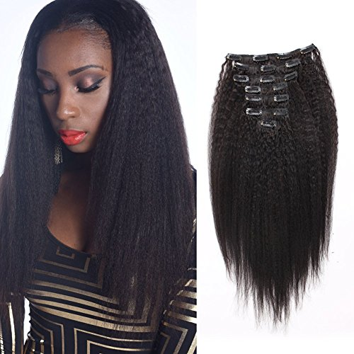 Beauty : AmazingBeauty Clip In Hair Extensions Afro Kinky Straight 8A Grade Thick 100% Remy Hair Natural Black 10-22inch 7 Pieces with 18 Clips 120g/4.2oz per Set Fit For Full Head 18 inch