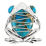 frog ring - Frog Ring Sterling Silver Genuine Turquoise & Gemstones (SELECT Color) (Teal/Matrix Turquoise, 9)