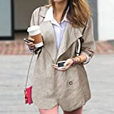 Clearance❤️Women Coat, NEARTIME Women Autumn Casual Cotton Tops Long-sleeved Casual Jacket V-Neck Button Windbreaker