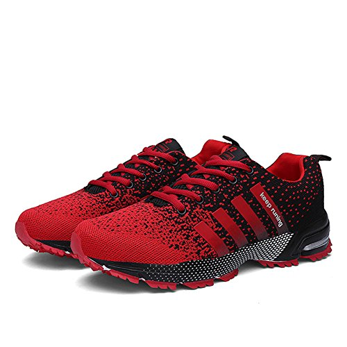 KUBUA Womens Running Shoes Trail Fashion Sneakers Tennis Sports Casual Walking Athletic Fitness Indoor and Outdoor Shoes for Women F Red Women 5.5 US/Men 4.5 M US by KUBUA (Image #2)