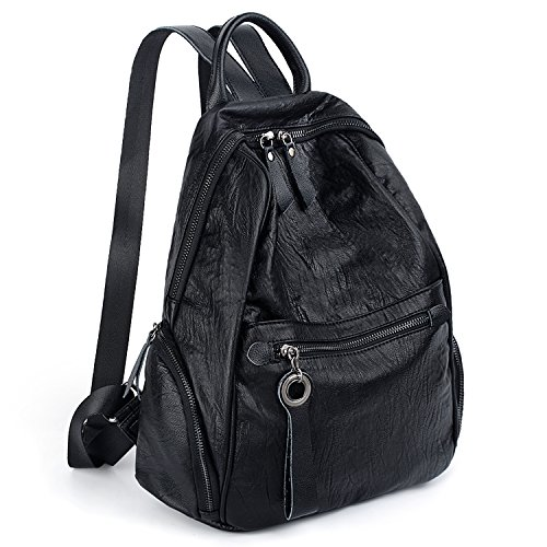 UTO Women Backpack Purse PU Washed Leather Zipper Pockets Ladies Daily Rucksack Shoulder Bag Black by UTO