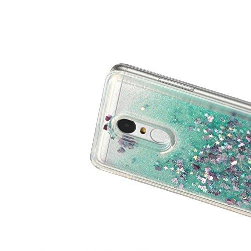Funda Xiaomi Redmi Note 3, Carcasa Xiaomi Redmi Note 3 Pro, Caselover 3D Bling Silicona TPU Arena Movediza Lentejuelas Carcasa para Redmi Note 3 / Note 3 Pro Glitter Líquido Brillar Cristal Sparkle Pr Verde claro