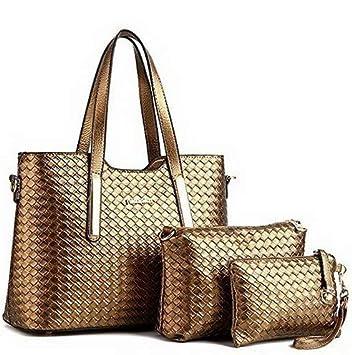 f779bc3025da Mikash Women 3 Piece Tote Bag Leather Weave ... - Amazon.com